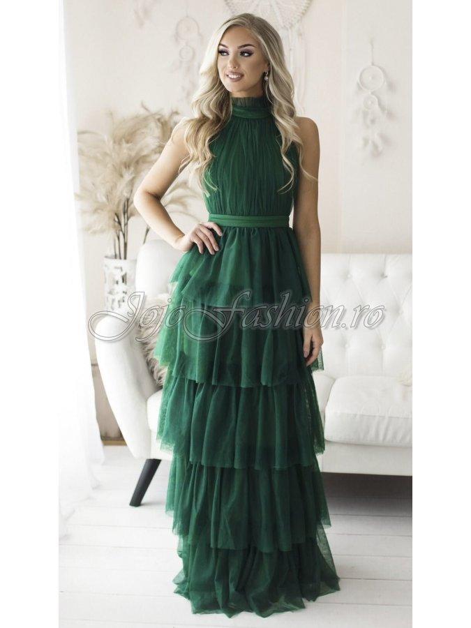 Rochie de ocazie lunga cu volane din tul verde Splendor