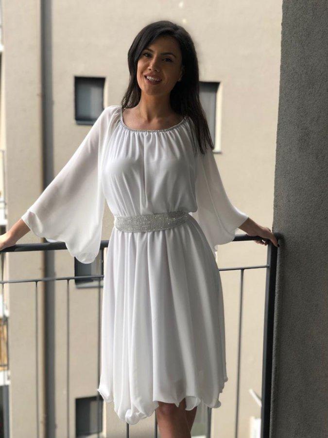 Rochie de ocazie midi vaporaoasa din voal alb Alexia