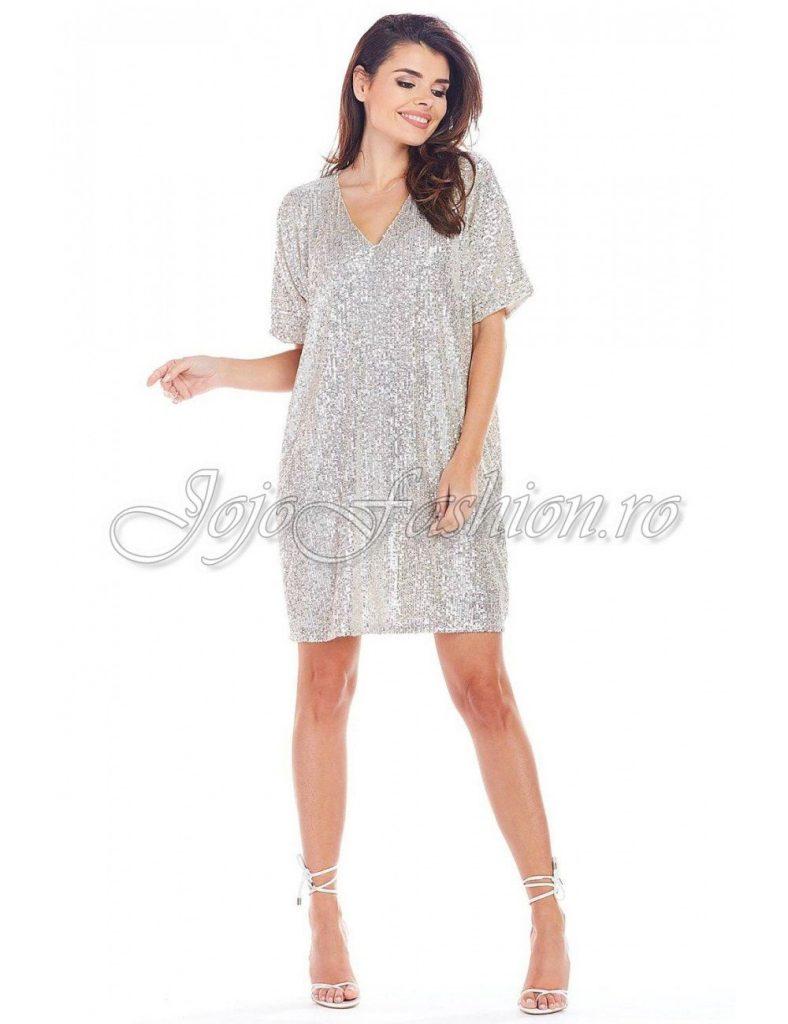 Rochie de seara eleganta scurta din paiete argintii de ocazie Ayana